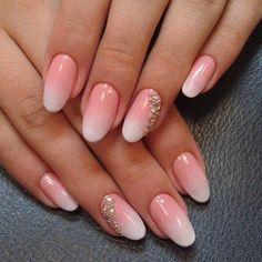 Beautiful nails 2016, Fashion nails 2016, Gentle summer nails, Nails with beads, Nails with rhinestones ideas, Ombre nails, Oval nails, ring finger nails