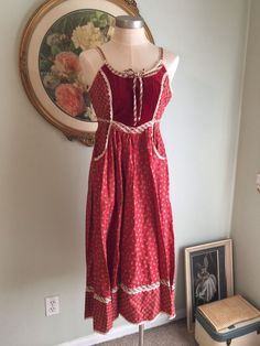 Vintage Gunne Sax Prairie Red Bohemian Dress Small 70s | eBay