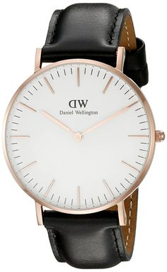 Amazon.com: Daniel Wellington Women's 0508DW Classic Sheffield Rose Gold-Tone Stainless Steel Watch with Black Leather Band: Daniel Wellington: Clothing