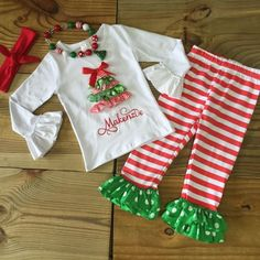 Girls Red White Striped Ribbon Christmas Tree Boutique Outfit