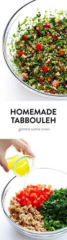 This classic tabbouleh recipe is easy to make with tons of fresh herbs, lemon and bulgur, and it always tastes SO refreshing! | gimmesomeoven.com