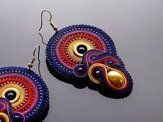 Orecchini Soutache colorati con ematite.