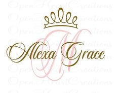 Princess Wall Decals - Initial and Name with Princess Tiara Accent - Vinyl Wall Decal for Baby Nursery Bedroom Girl Teen x Princess Nursery, Princess Room, Princess Tiara, Kids Wall Decals, Nursery Wall Decals, Nursery Room, Bedroom With Bath, Girls Bedroom, Bedrooms