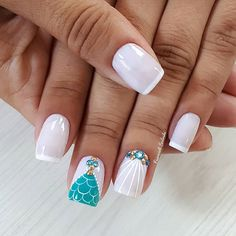 Nail Art For Kids, Easy Nail Art, Nail Manicure, Diy Nails, Summer Nails 2018, Happy Nails, Mermaid Nails, Beach Nails, Luxury Nails