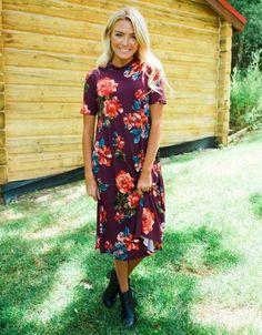 The Bailey Burgundy Floral Dress
