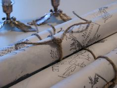 ♕ lovely hand-stamped Christmas wrapping paper