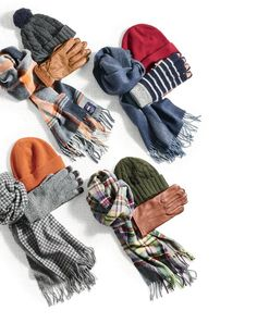 J.Crew men's cold weather essentials. Smartphone-friendly gloves, hefty knit hats and scarves from Abraham Moon that will make staying warm a serious style statement this winter.