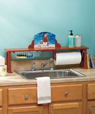 Over The Sink Shelf W/ Paper Towel Holder U0026 Interchangeable Holiday Boards
