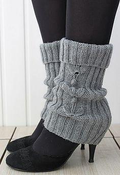 Free Knitting Pattern for Grey-Grey Legwarmers - Katya Gorbacheva's legwarmers feature a cable motif and ribbing.