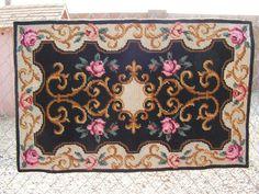 Vintage Antique Cross Stitch Rug / Needlepoint Folk Art Rug / Wall Hanging Rug / Shabby Chic Rug