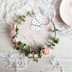 Blush Greenery Bridal flower crown Rustic flower crown