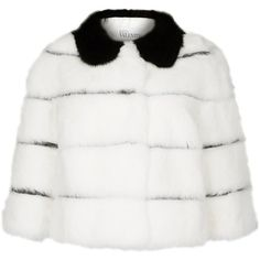 Womens Smart Jackets RED Valentino White Striped Fur Jacket (26.231.575 IDR) ❤ liked on Polyvore featuring outerwear, jackets, striped jacket, red valentino, stripe jacket, fur jacket and white fur jacket