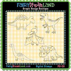 Dinosaurs 1 CU Digital Stamps by FairyDreamLand.com Digital Stamps, School Projects, Dinosaurs, Line Art, Card Making, Scrapbook, Pattern, Cards, Digi Stamps