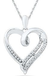 Sterling Silver Round Diamond in Heart Pendant (1/10 cttw) $39.99 Prime D-GOLD
