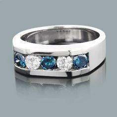5 stone 1 carat white and blue diamond ring 14k gold mens jewelry mens diamond ringsdiamond wedding
