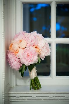 I like the pink and peach together, With the satin ribbon only half way down the bouquet.