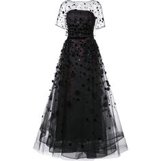 Carolina Herrera Organza pailette gown (€6.705) ❤ liked on Polyvore featuring dresses, gowns, carolina herrera, vestidos, black, carolina herrera gowns, see-through dresses, sheer gown, sequin gown and strapless dress