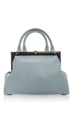 0301b39cbb Attelage Sac A Main In Jade Calf Leather With A Black Frame
