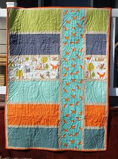 Boy Baby Quilts (Girls in the Garden) I like the fabric placement