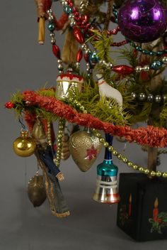 Vintage Christmas Ornaments with Tree