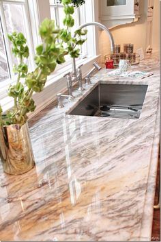 Kitchen Sink Remodel kitchen sink, one big one vs two separate areas also nice counter top - home for the holidays showhouse atlanta Best Kitchen Sinks, Kitchen Redo, Cool Kitchens, Single Sink Kitchen, Küchen Design, Home Design, Interior Design, New Countertops, Cement Counter