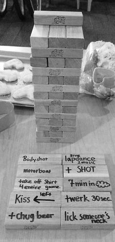 ✔ Drinking Jenga ~ Fun for a game night. I don't do drinking games but this sounds fun with the right friends! need to update my jenga! Party Fiesta, Festa Party, Party Party, House Party, Drinking Jenga, Camping Drinking Games, Adult Drinking Games, Drinking Party Games, Bachelorette Party Drinking Games