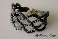 Crochet Bracelet in Dark Grey by mydistinctstyle on Etsy, $10.00