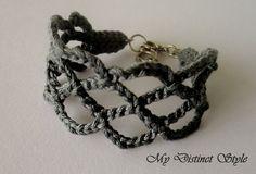 Crochet Bracelet in Dark Grey by mydistinctstyle on Etsy, $10.00