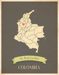Colombia Roots Map 11x14 Customized Print. $30.00, via Etsy.