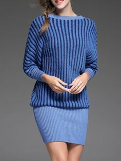 Casual Knitted Slash Neck Long Sleeve Bodycon Sweater Dress