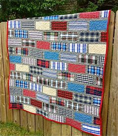 My Quilt Infatuation: Bricks and Mortar memory quilt made with shirt fabric