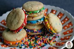 Funfetti cookies - uses cake mix and dyes frosting rolled in sprinkles.  a fun birthday treat instead of cupcakes at school.