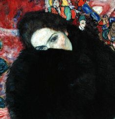 Gustav Klimt Dame mit Muff (Lady with a Muff), c. 1916, oil on canvas, whereabouts unknown.                                                                                                                                                                                 More