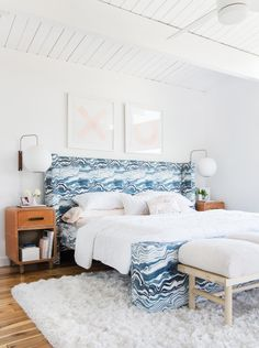Master Bedroom Reveal Emily Henderson Design White Pink Blue and Gold