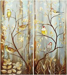 QUADRO PASSARINHOS CONJUNTO 3 ou 2 PEÇAS no Elo7   ELOÁ PAZ (546382) Fantasy Illustration, French Country Decorating, Art Activities, Bird Art, Art History, Decoupage, Family Room, Canvas Art, Birds