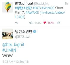 Jimin ❤ [Bangtan Tweet] @/bts_bighit #JIMIN WOW.... (Yes Jimin it's very mucheu WOW LOL) #BTS #방탄소년단