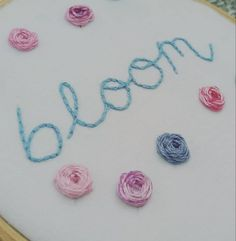 Items similar to Bloom embroidery art, floral hand embroidery wall art, positive wall art on Etsy Embroidery Art, Embroidery Stitches, Back Stitch, Craft Gifts, Bloom, Lettering, Wall Art, Handmade Gifts, Floral