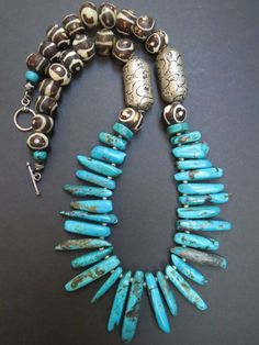 Primitive Style Turquoise Spike and Tibet/Nepal by GEMILAJewels