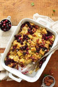 cornbread stuffing with roasted cranberries, sautéed leeks and onions, and pecans