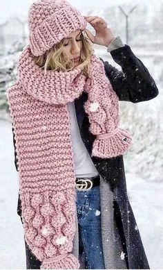 Best Seller Utini WKOUD EAM 2019 New Autumn Winter Kintting Manual Casual Burrball Asymmetrical Keep Warm Medium Length Scarf Women Fashion Tide – (Color: Pink Color, Size: One Size) online – Onlineshoppingoffers - Knitted Scarf 4 Crochet Viking Hat, Crochet Scarves, Crochet Hats, Free Crochet, Bohemian Mode, Boho Chic, Bohemian Style, Hat And Scarf Sets, Hand Knit Scarf