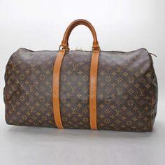 Louis Vuitton Keepall 55 Monogram Handle bags Brown Canvas M41424