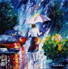 """""""Rose in the rain"""" by Leonid Afremov ___________________________ Click on the…"""
