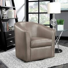 Enjoy exclusive for Coaster Faux Leather Upholstered Swivel Accent Chair, Champagne online - Topfurniturestore Living Room Chairs, Living Room Furniture, Living Rooms, Champagne Living Room, Comfortable Accent Chairs, Upholstered Swivel Chairs, Chair Cushions, Coaster Fine Furniture, Swivel Barrel Chair