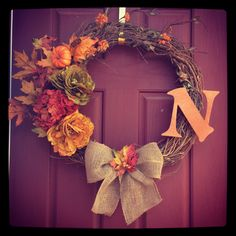 Fall DIY wreath with familiy initial. My first of many!