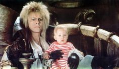 1986 - David Bowie as Jareth and Toby in Labyrinth film.