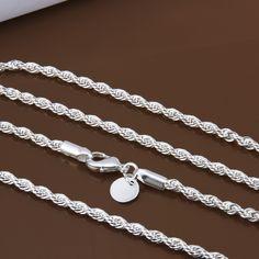 Groothandelsprijs 16-24 inch 3mm twisted chains kettingen 925 sivler sieraden fijne zilveren kettingen voor hangers