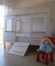 Dormitorio infantil hecho con palets #bedroom #palets #reciclaje