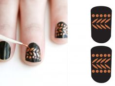 Black and bronze nail design