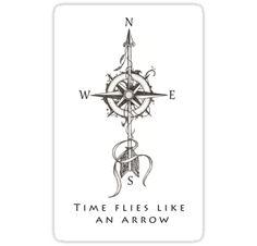 "Sticker of illustratrion ""Time flies like an arrow"" by #Beatrizxe in #Redbubble Work based on a style of tattoo. A compass surrounded by shadows is pierced by an arrow. Two feathers blowing in the wind. Trabajo basado en un estilo de tatuaje. Una brújula rodeada de sombras es atravesada por una flecha. Dos plumas, atadas a la flecha, ondean al viento. #compass #Windrose #arrow #tattoo #illustration #shadow #draw #artwork #art #artist #creative #inspiration #ink #design #tattoo #tattoodesign…"