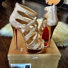Gold High Heels by Christian Louboutin